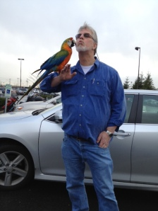 With my friend Maya, a Camelot Macaw.  Seattle, Washington.  2012.