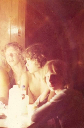 Labor Day 1972. Left to right: Me, Stephen Lukas, Michael Lukas in the cabin at Chimney Pond Campground, Mt. Katahdin, Baxter state Park Maine the night I met the doctor.
